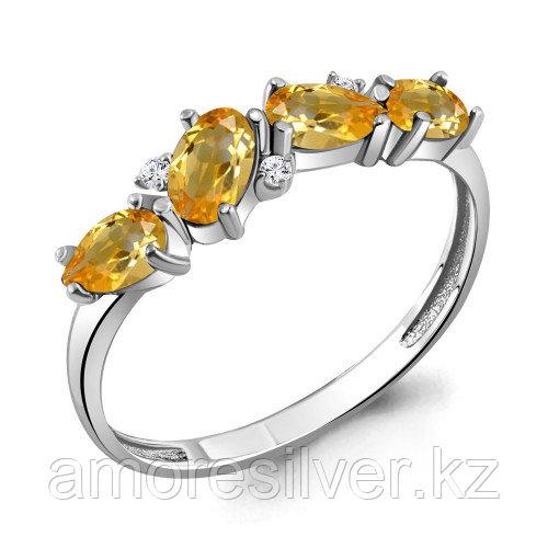 Серебряное кольцо с цитрином и фианитом   Aquamarine 6535806А