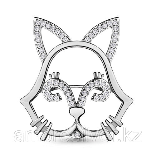 Брошь из серебра с фианитом   Aquamarine 77323А