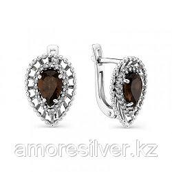 Серьги из серебра с фианитом и раухтопазом   Алькор 02-0754/00РТ-00