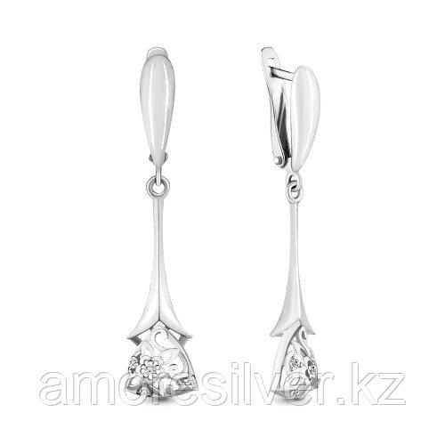 Серебряные серьги с фианитом   Aquamarine 46371А