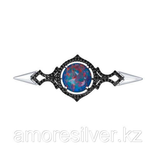 Брошь SOKOLOV серебро с родием, опал фианит 83040002