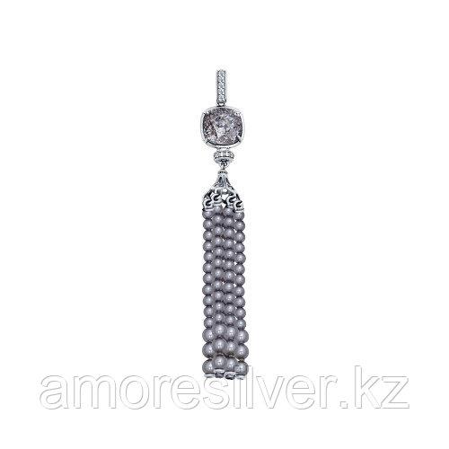 Серебряная подвеска с жемчугом и фианитом   SOKOLOV 94031654
