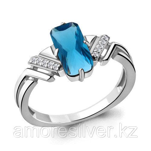 Кольцо из серебра с нано топазом лондон и фианитом   Aquamarine 6913793А размеры - 17,5