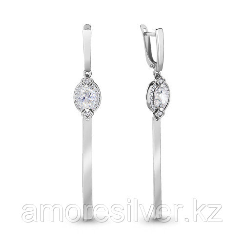 Серебряные серьги с фианитом   Aquamarine 46986А
