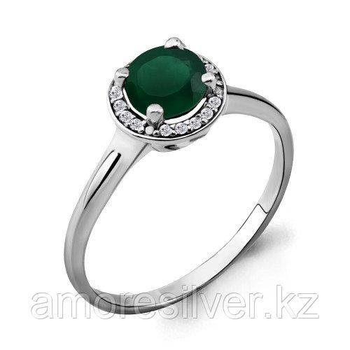 Серебряное кольцо с агатом зеленым и фианитом    Aquamarine 6399109А размеры - 17,5