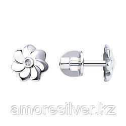 Серьги-пусеты из серебра с бриллиантами   SOKOLOV 87020005