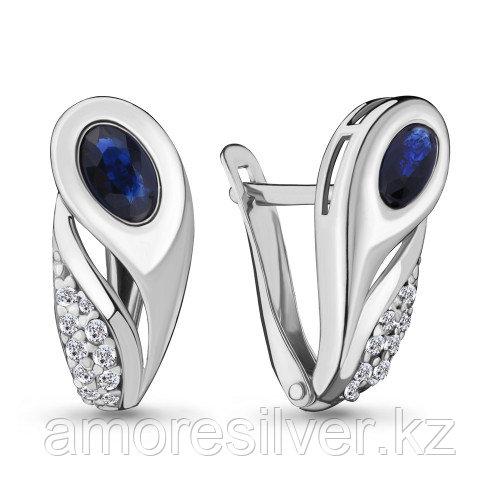 Серебряные серьги с фианитом и наносапфиром синт.    Aquamarine 47194АБ