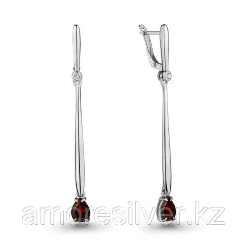 Серебряные серьги с фианитом и гранатом   Aquamarine 4712903А