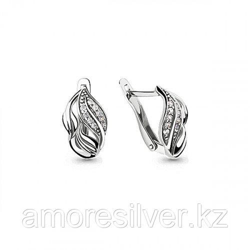 Серьги из серебра с фианитом   Aquamarine 46032А