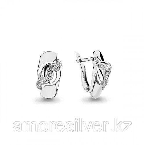 Серебряные серьги с фианитом   Aquamarine 45945А