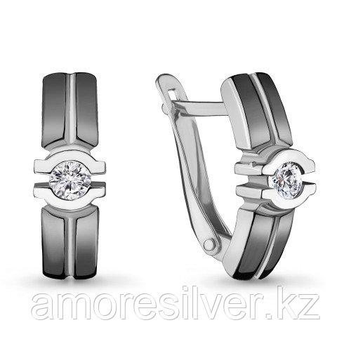 Серьги из серебра с фианитом   Aquamarine 46979А