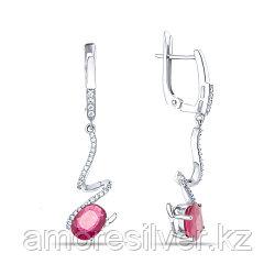 Серебряные серьги с рубином и фианитом  TEOSA E-DRGR00833-RB