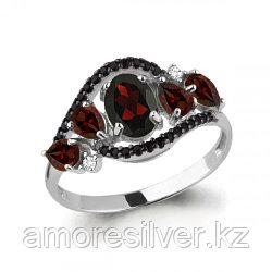 Серебряное кольцо с шпинелью синт. и гранатом    Aquamarine 6574503Ч размеры - 17