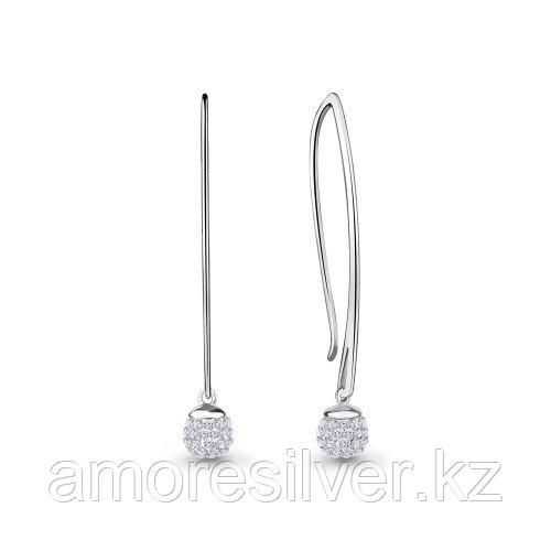 Серьги Aquamarine серебро с родием, стекло 48344.5