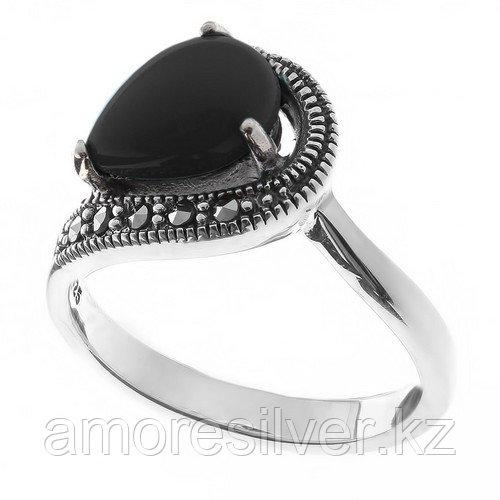 Серебряное кольцо с марказитом и ониксом    Teosa HR-396-ON размеры - 18