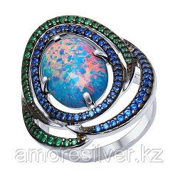 Серебряное кольцо с фианитом и опалом синт.   SOKOLOV 83010045 размеры - 18,5