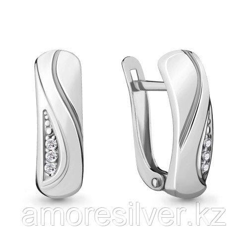 Серьги из серебра с фианитом Aquamarine 48027А