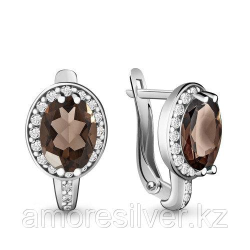 Серебряные серьги с фианитом и    Aquamarine 4413701А