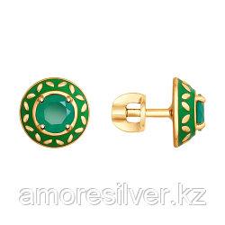 Серебряные серьги с агатом зеленым и эмалью   SOKOLOV 92021821