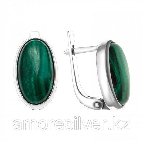 Серебряные серьги с малахитом    Приволжский Ювелир 333066-ML