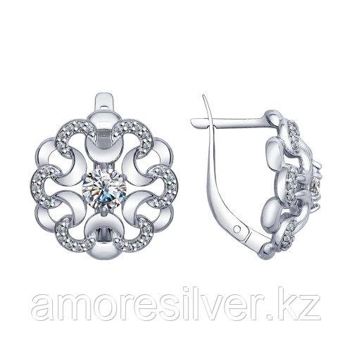 Серьги из серебра с фианитом   SOKOLOV 94022558
