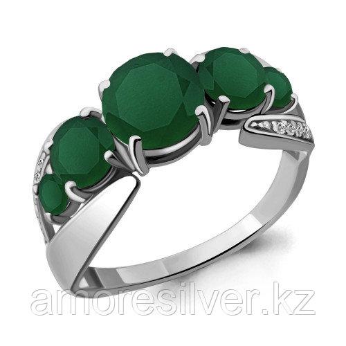 Кольцо из серебра с агатом зелёным и фианитом   Aquamarine 6592609А