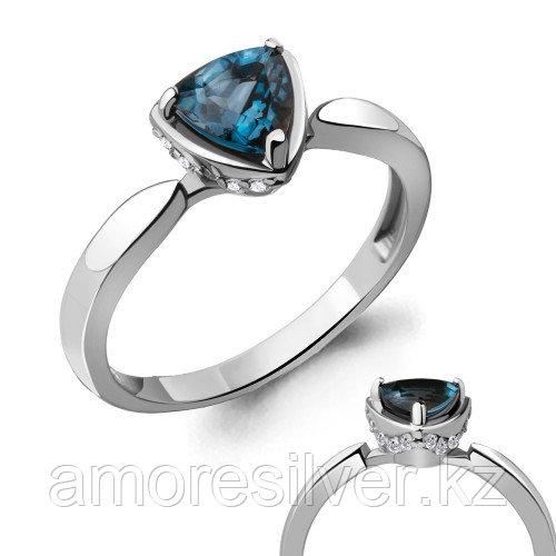 Кольцо из серебра с топазом лондон и фианитом   Aquamarine 6916608А