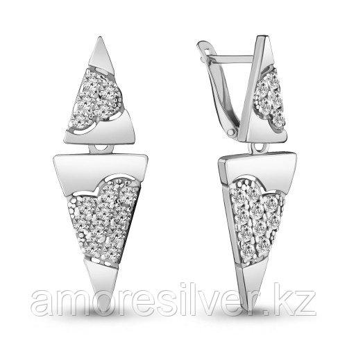 Серьги из серебра с фианитом   Aquamarine 46958А