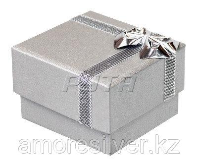 38030ср Футляр картонный  с бантиком из фольги, серебристый перламутр, гарнитур 4 прорези  ФУТЛЯРЫ 38030ср  38030ср