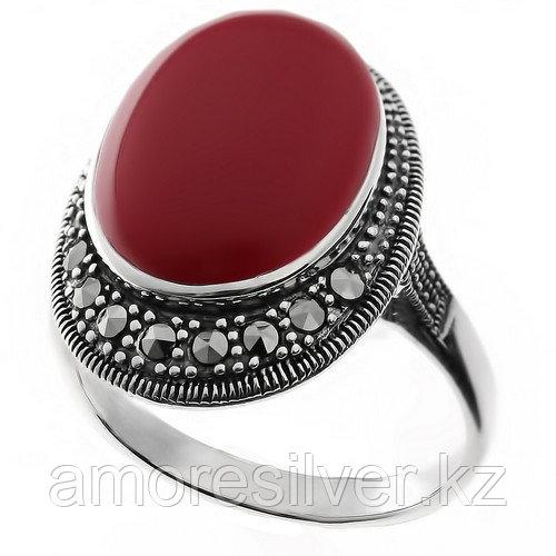Серебряное кольцо с марказитом и кораллом имит.    Teosa HR-560-COR размеры - 19 19,5