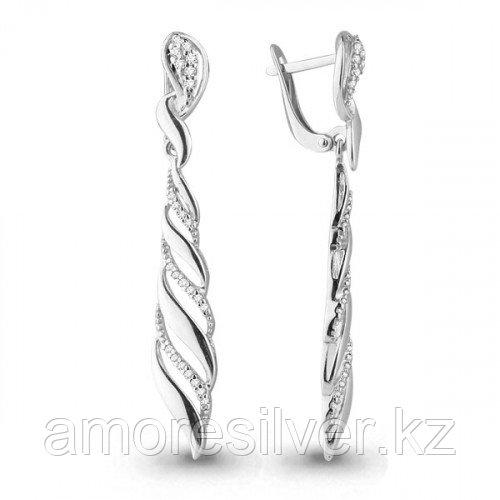 Серебряные серьги с фианитом   Aquamarine 45625А