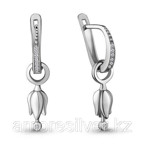Серьги из серебра с фианитом   Aquamarine 48018А