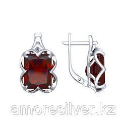 Серьги из серебра с красными ситаллами    SOKOLOV 92021364