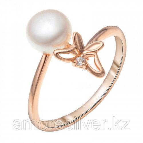 Кольцо Красная Пресня серебро с позолотой, жемчуг фианит, фауна 23310541 размеры - 18