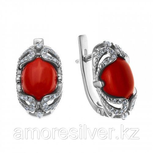 Серьги из серебра с кораллом и фианитом   MASKOM 2000-0208-CRL-r