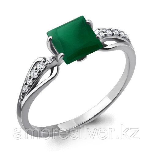 Серебряное кольцо с агатом зеленым и фианитом    Aquamarine 6524109А размеры - 17,5