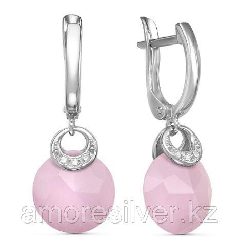 Серебряные серьги с кварцем розовым   Красная Пресня 3338834ДК