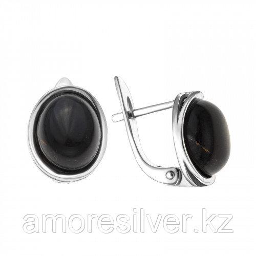 Серьги из серебра с агатом чёрным    Darvin 929LB1014aa