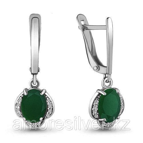 Серьги из серебра с агатом зелёным и фианитом    Aquamarine 4717009А