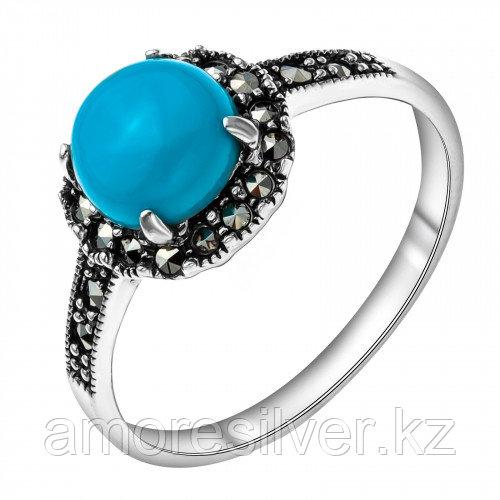 Серебряное кольцо с бирюзой синт.    Teosa HR-958-TQ размеры - 17,5