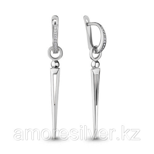 Серебряные серьги с фианитом   Aquamarine 48015А
