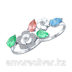 Кольцо из серебра с нано ситаллом   SOKOLOV 92011215 размеры - 16