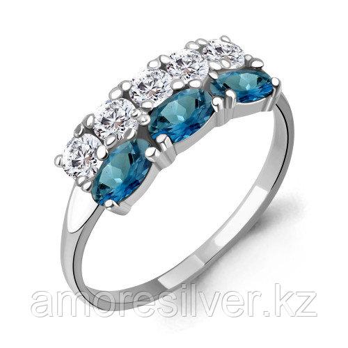 Кольцо из серебра с топазом лондон   Aquamarine 6535508А размеры - 18,5