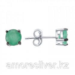 Серебряные серьги с изумрудом   Teosa E-DRGR00903-EM