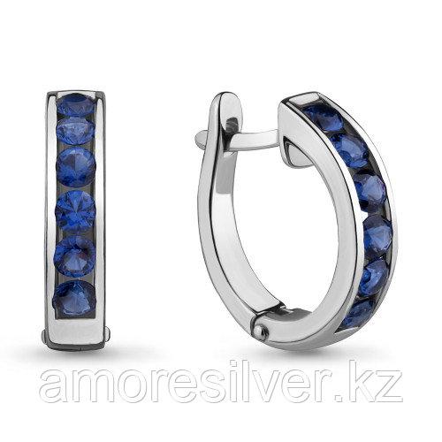 Серебряные серьги с наносапфиром синт.    Aquamarine 42894Б.5