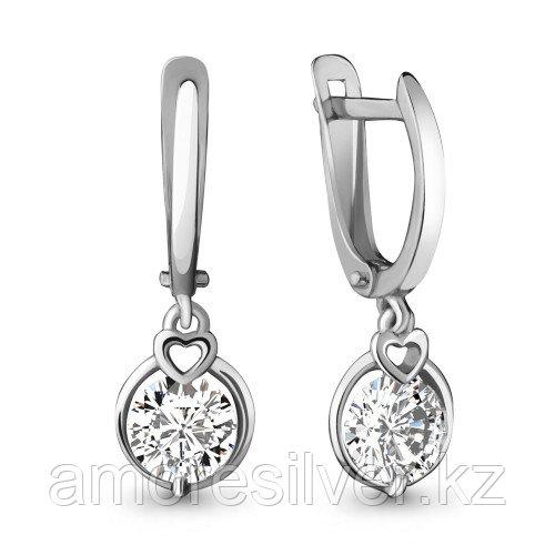 Серьги из серебра с фианитом сваровски   Aquamarine 42098