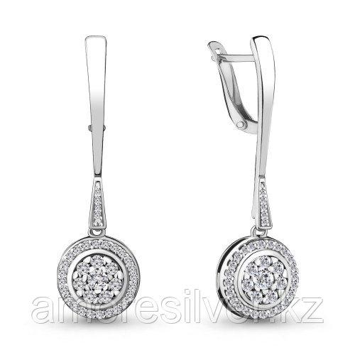 Серебряные серьги с фианитом    Aquamarine 46988А