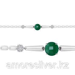 Браслет из серебра с агатом зеленым  AQUAMARINE 7443509А размеры - 16 17