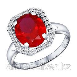 Кольцо из серебра с фианитом и рубином синт.   SOKOLOV 84010001 размеры - 17,5
