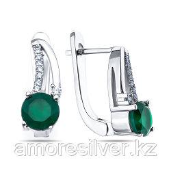 Серебряные серьги с агатом зеленым    Teosa E-DRGR00767-AG